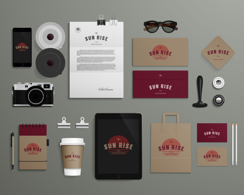 Sun Rise Cafe 1Green Gray Brand identity